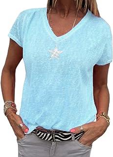 5e1f560dee85c Minetom Femme Été Chic Col Rond Manche Courte T-Shirt Imprimer Chemisier  Blouse Élégant Mode
