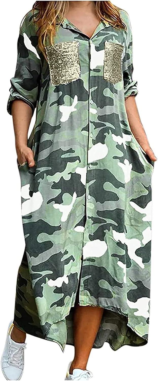 Shirt Dresses for Women Button Down Midi Length Print Pocket Long Sleeved Shirt Long Dress Casual Loose Maxi Dresses