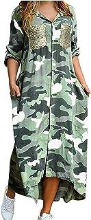 Masrin Damen Hemdkleid Casual Camouflage Knopf Cardigan Kleid Große Größe Langarm Revers Etuikleid mit Taschen