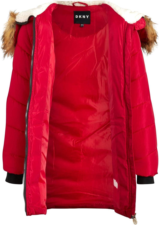 DKNY Girls/' Long Length Puffer Jacket with Sherpa Fur Hood