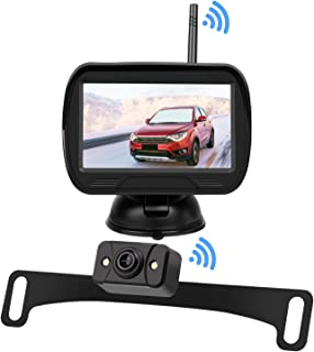 """$48 » Digital Wireless Backup Camera Monitor System Kit - License Plate Reverse Rear/Front View Camera, 4.3"""" LCD Screen, Guide L..."""