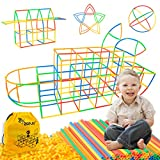 Straw Constructor Stem Toys 300 Pcs Building Straws Connectors Fun Educational Building Construction Toys for Kids Colorful Engineering Toys for Boys and Girls 3 4 5 6 7 8 Year Old