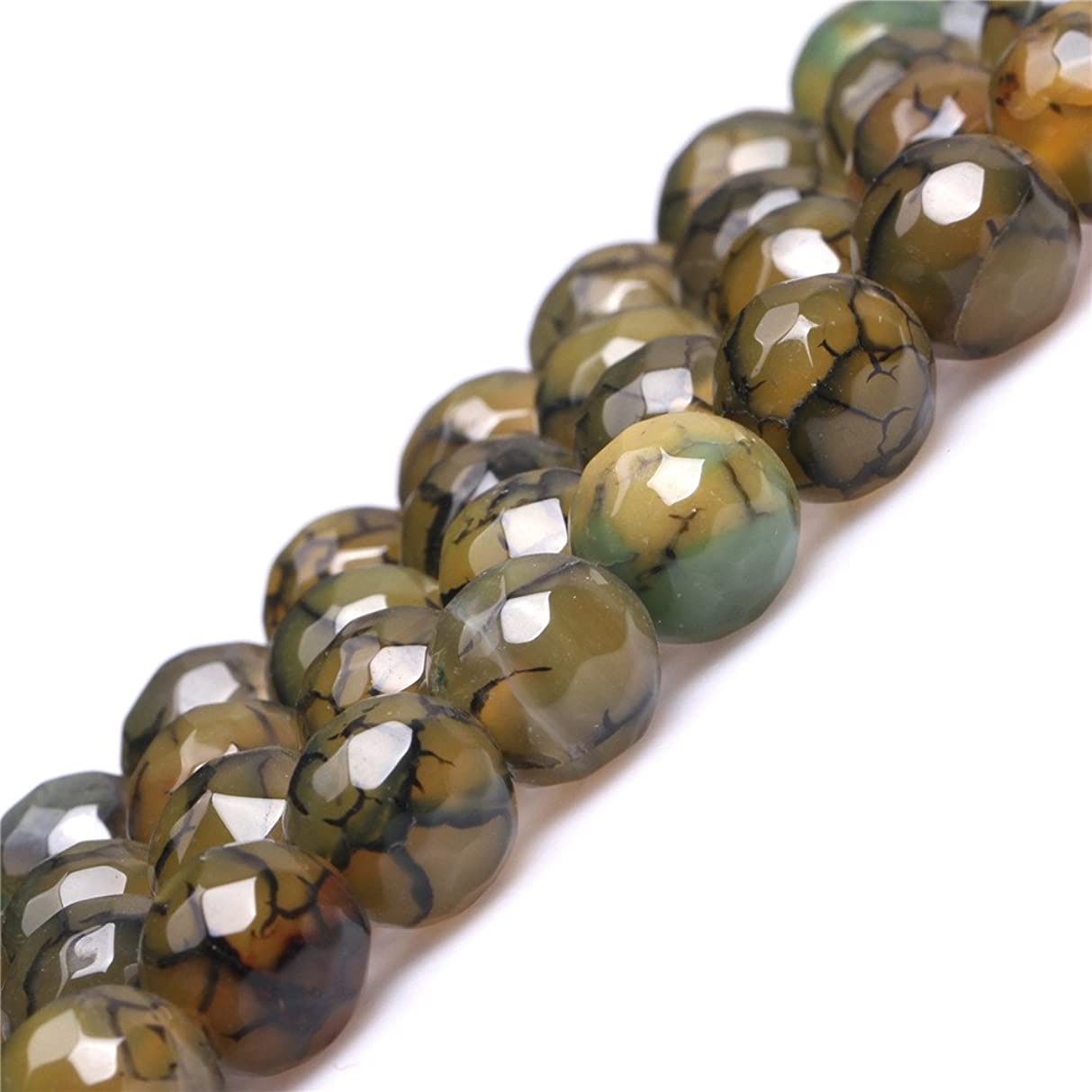 JOE FOREMAN 10mm Yellow Green Crackle Agate Semi Precious Gemstone Round Faceted Loose Beads for Jewelry Making DIY Handmade Craft Supplies 15