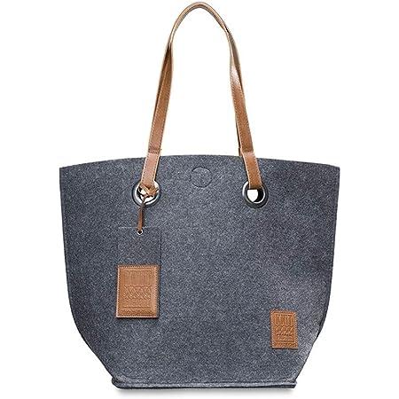 KNIT FACTORY - Tess Shopper - Große Shopper Tasche für Damen - Schultertasche aus Dicken Filz - 50x40 cm - Hochwertige Qualität