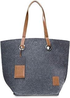 KNIT FACTORY - Tess Shopper - Große Shopper Tasche für Damen - Schultertasche aus Dicken Filz - 50x40 cm - Hochwertige Qua...