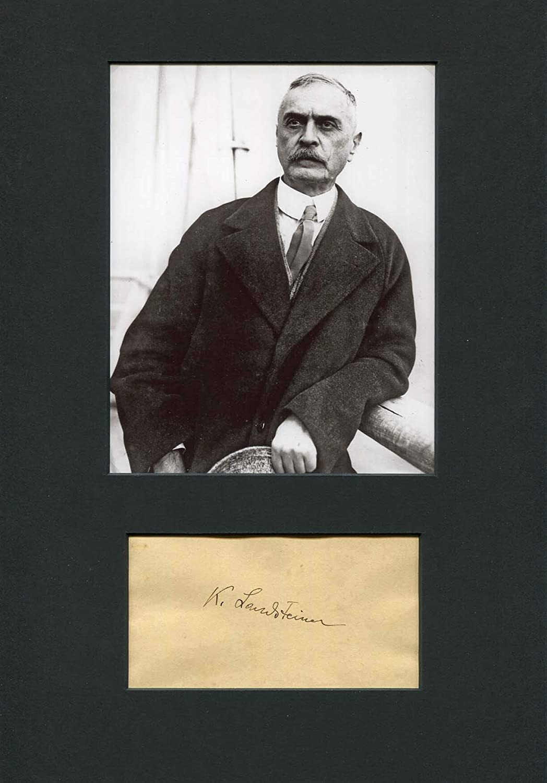Cheap mail order shopping NOBEL PRIZE 1930 Time sale Karl Landsteiner m autograph album signed page