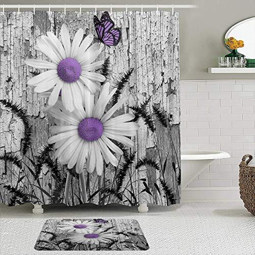 MTevocon Duschvorhang Sets mit rutschfesten Teppichen,Lila Grau Weiß Gänseblümchen Blumen Schmetterling Schwarz Fuchsschwanz Gras, Badematte + Duschvorhang mit 12 Haken