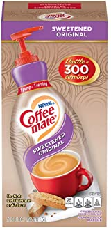 Nestle Coffee mate Coffee Creamer, Sweetened Original, Liquid Pump Bottle, 50.7 Ounces