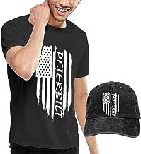 KFR&KNED American Flag Peterbilt Men's Cotton Crewneck Short Sleeve T Shirt and Washed Baseball Cap
