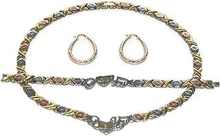 3 Tone I LOVE YOU Hugs & Kisses Necklace Bracelet Earrings Set Oval Hoops XOXO 18 inches