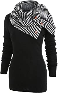 iYBUIA Women Striped Buttons Scarf Skew Neck Long Sleeve Knitted Sweater Pullover Coat