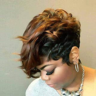 BeiSD Short Black Wig with Mixed Brown Bangs Natural Short Haircuts for Women Synthetic Short Wigs for Black Women