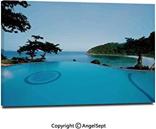 Canvas Prints Modern Art Framed Wall Mural Pool View at Sunset Beach in Seacoast Ocean Heavenly Vibrant Colors Adventure Photo Wall Decorations for Living Room Bedroom Dining Room Bathroom Office,Tu