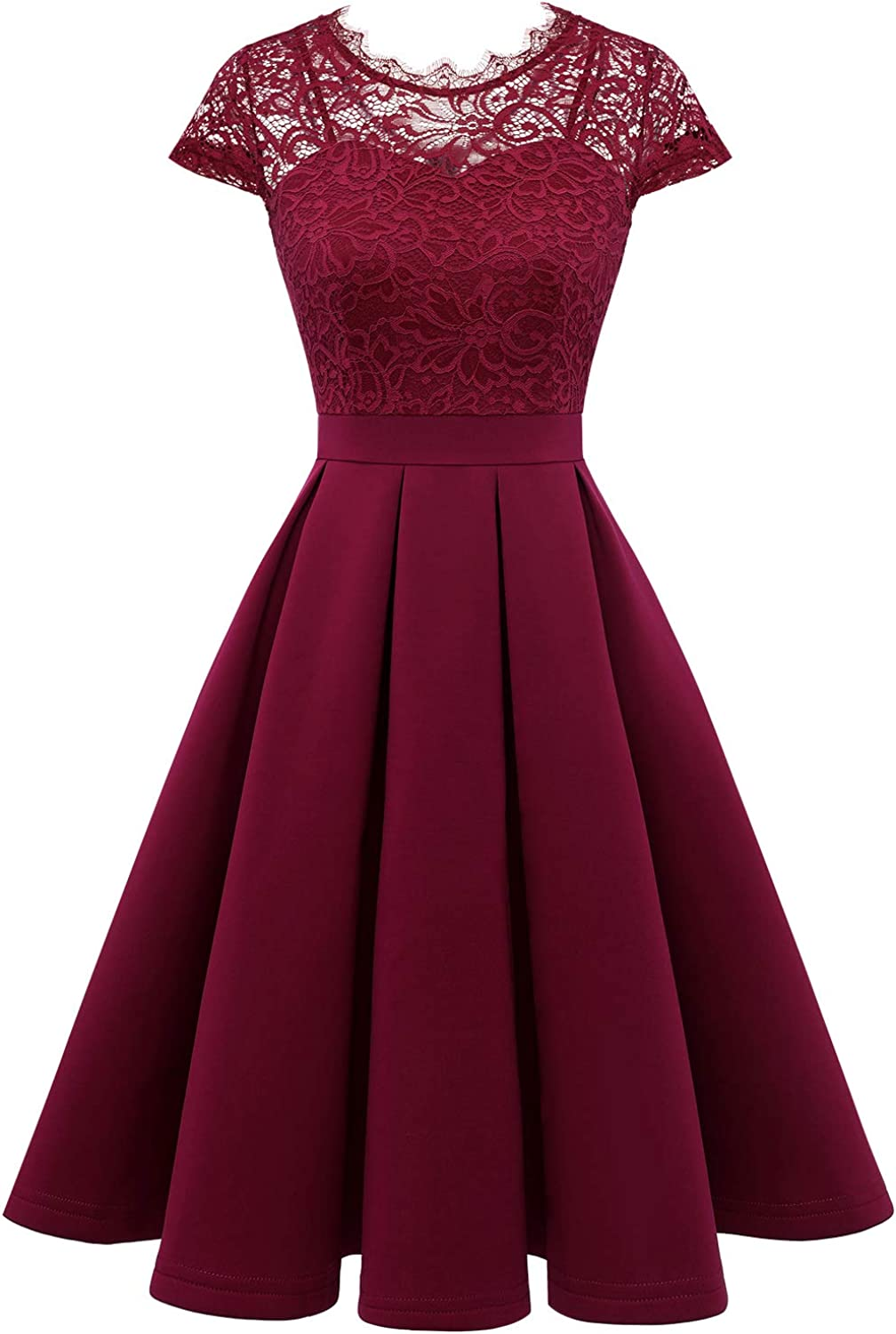 Dressystar Women's Vintage Floral Lace Cocktail Party Dress Fit and Flare Prom Dress with Pockets