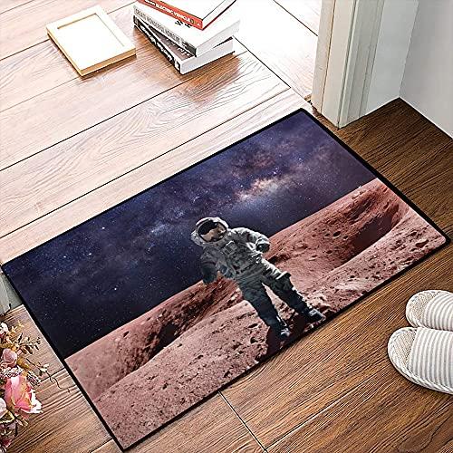 QDYLM Alfombra de baño de Microfibra esponjosa,Galaxy Valiente Astronauta de pie en el Planeta Rojo Marte Rocky Stone Surface Nebula Prin alfombras de Ducha de Suave Absorbente de Agua, 50x80 cm