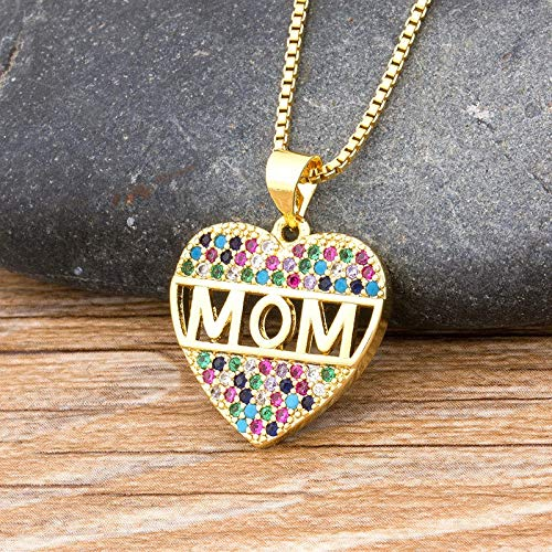Fashion Colorful Mom Cubic Zirconia Heart Necklace Pendant Decoration Jewelry for Women Long Snake Chain Gift for Mother's Day
