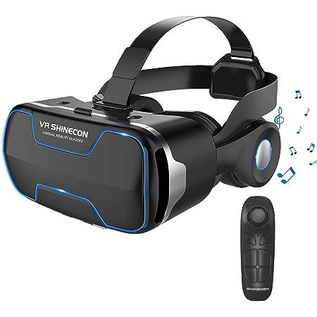 【2020最新改良版VRゴーグル】VRヘッドセット VRヘッドマウントディスプレイ 3D スマホVR 取り外すヘッドホン付き  モバイル型 瞳孔/焦点調節 非球面光学レンズ 4.7~6.5インチスマホ 本体操作可 電話応答可 眼鏡対応 1080PHD高画質 Bluetoothコントローラ付 600度近視&遠視適用 フロントパネル取り外す可 放熱性よい 120°視野角 着け心地よい  4.7~6.5インチまでのスマホ対応 日本語説明書付 父の日プレゼント