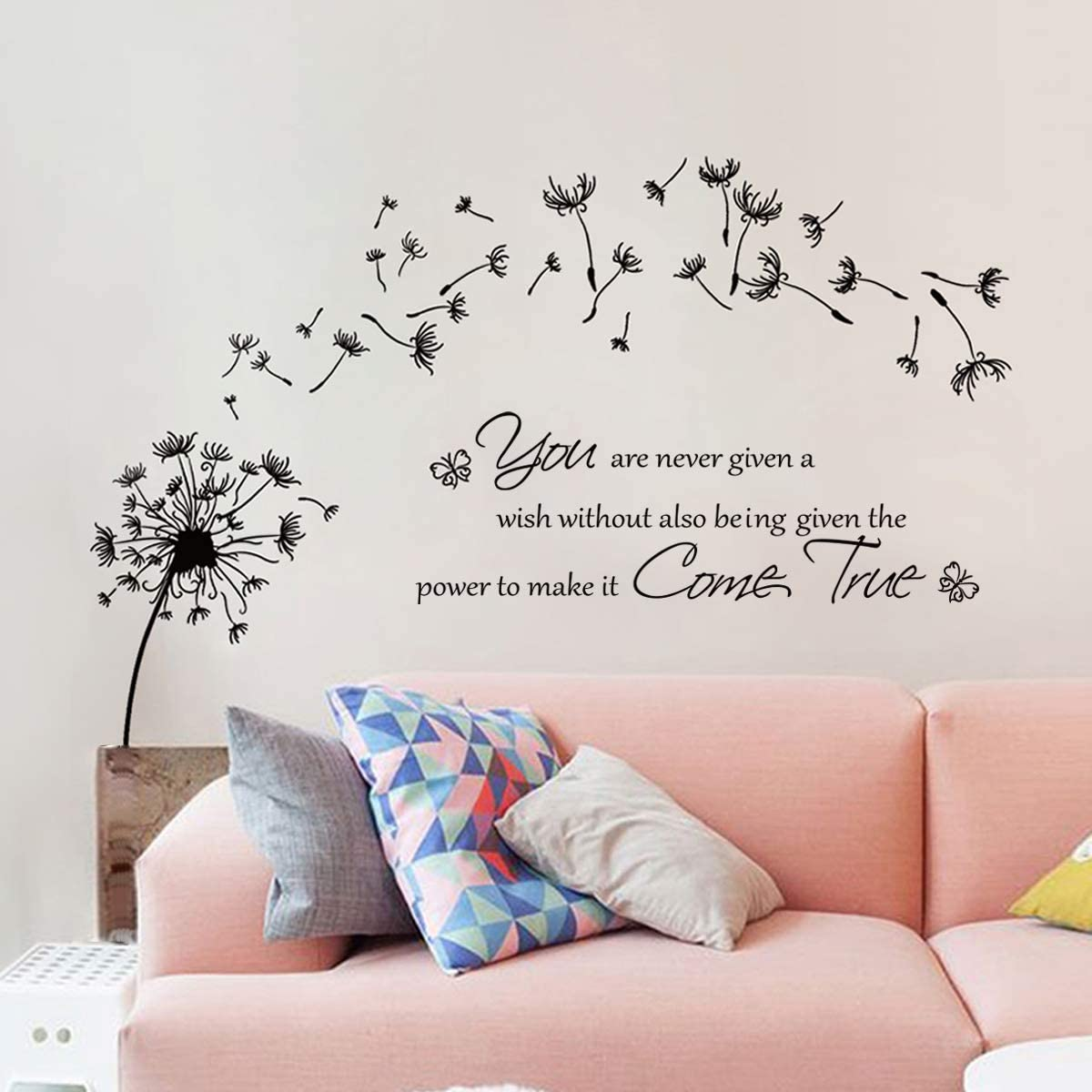 decalmile Dandelion Wall Stickers Quotes Inspirational Letters Wall Decals Living Room Bedroom Wall Decor