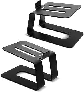 Stageek Aluminum Desktop Speaker Stands, Pair, Universal Desk Stand for Small, Medium Bookshelf Computer Speakers, Black