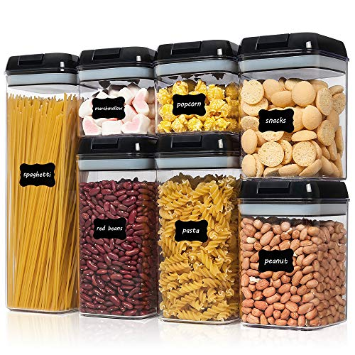 Airtight Food Storage Containers, Vtopmart 7 Pieces BPA Free Plastic Cereal Containers with Easy Lock Lids, for Kitchen Pantry Organization and Storage, Include 24 Labels,Black