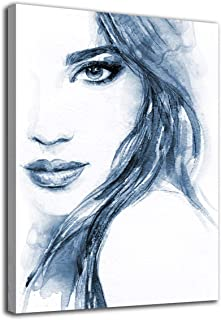 Beauty Wall Art Abstract Canvas Pictures Blue Fashion Woman Watercolor Lady Modern Artwork Contemporary Art Prints Framed ...