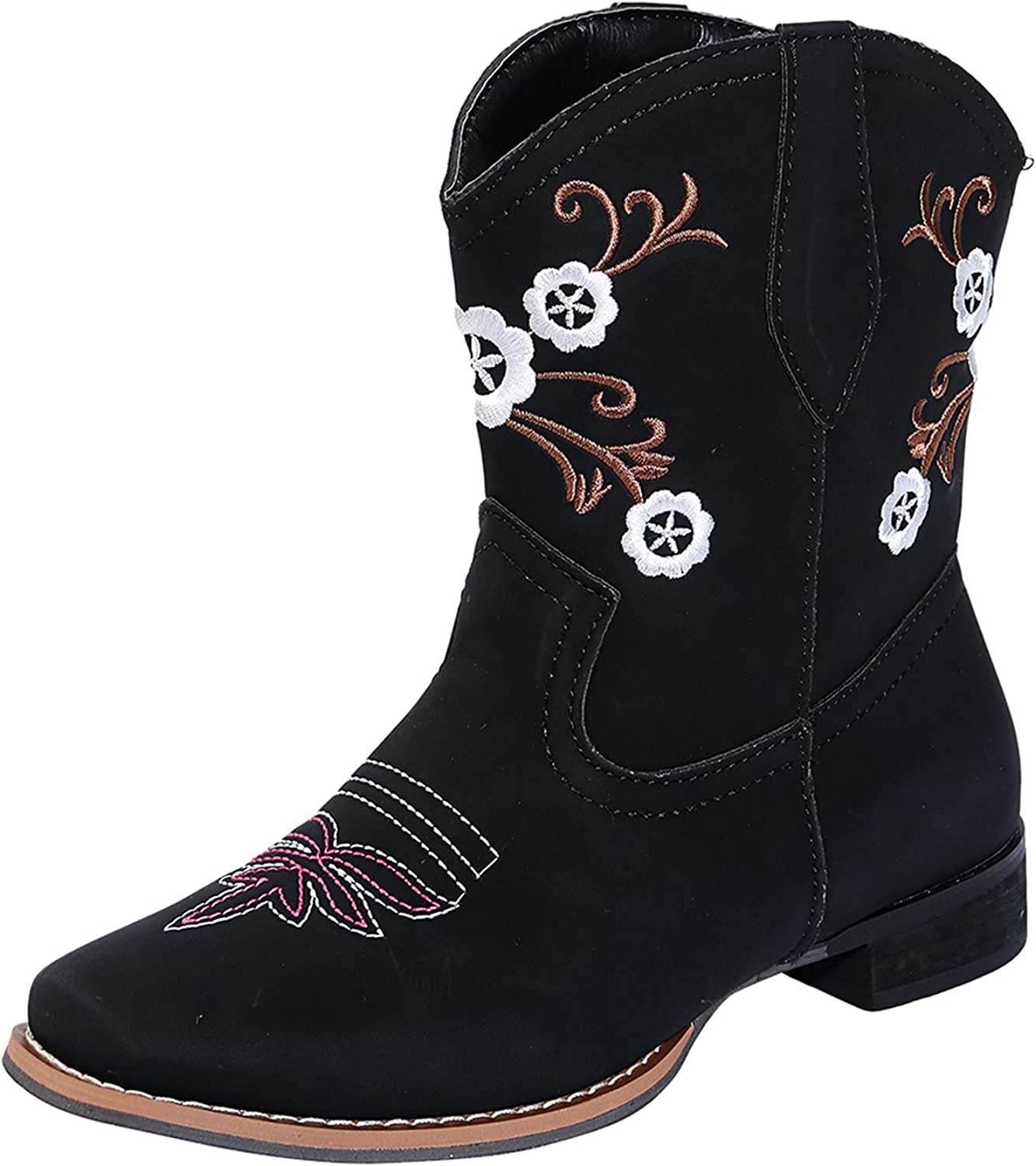 Women's Ankle Boots Retro Flower Embroidered Pointed Toe Block Chunky Mid Heel Western Boots