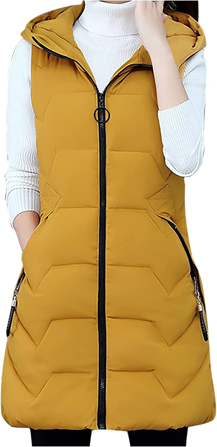 Women's Winter Coat Warm Cotton Sleeveless Zip Up Hoodies Jacket Long Vest Thick Dressy Outwear with Pockets