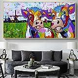DCLZYF Moderno Abstracto Colorido Dos Vacas impresión en Lienzo Animales Carteles e impresión Arte de Pared Imagen Sala de Estar decoración del hogar -60x120cm (sin Marco)