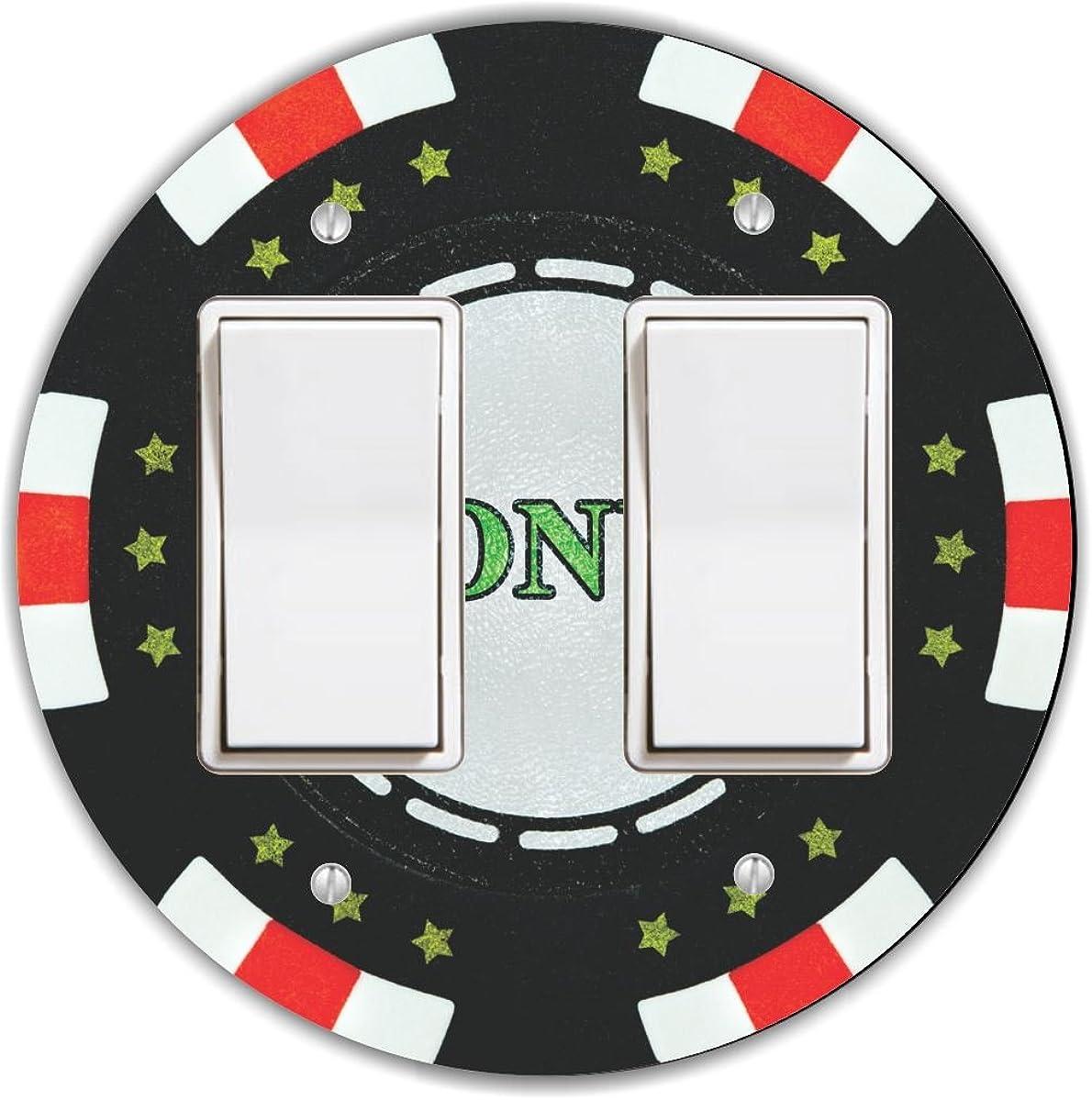 Rikki Knight RND-LSPROCKDBL-102 Bonus Poker Chip Round Double Rocker Light Switch Plate
