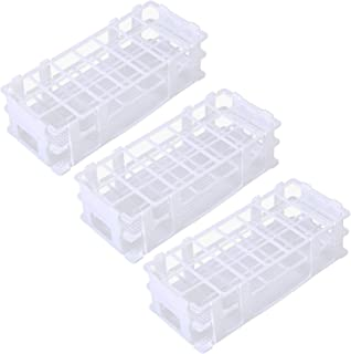 Pocomoco 3 Packs Plastic Test Tube Rack, 21 Holes Lab Test Tube Rack Holder for 30mm Test Tubes, White, Detachable (21 Holes)
