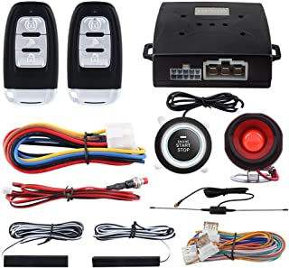 $66 » EASYGUARD EC003 Smart Key PKE Passive Keyless Entry Car Alarm System Push Start Button Remote Engine Start Remote Trunk Re...