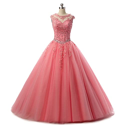 HEIMO Lace Appliques Ball Gown Evening Prom Dress Beading Sequined Quinceanera  Dresses Long 2018 H152 4150376adf8c