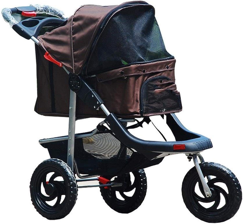 RYAN Dog Pushchair, Stroller Pram Carrier Outdoor Senior Trolley Foldable 3 Wheel Cart For Large Elderly Dog (color   Coffee)