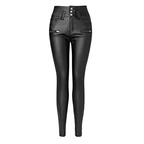 91eb538cb430 Ecupper Womens Black Faux Leather Pants High Waisted Skinny Coated Leggings  Petite/Regular/Tall