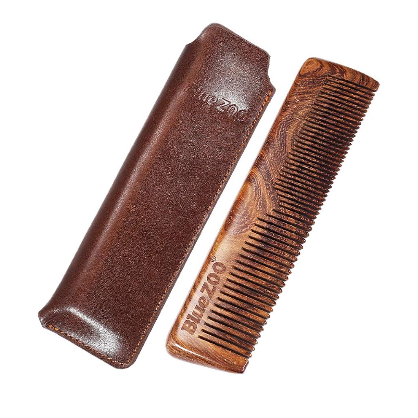 震え骨ヘルメットF Fityle 木製 ひげ櫛 PUバッグ 木製櫛 口ひげ ヘアブラシ 2色選べ - 褐色