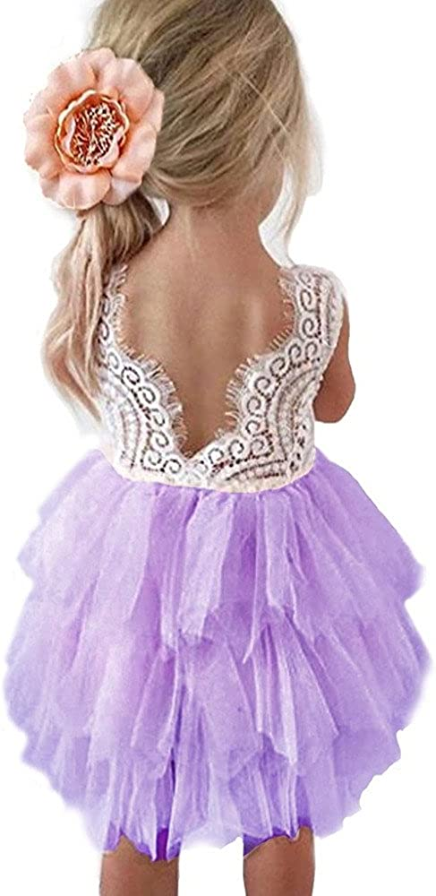 Cossky Backless A-Line Lace Back Flower Girl Dress