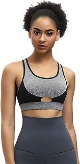 JOYMODE Women's Racerback Sports Bras Padded High Impact Support Back Closure Activewear Bra Workout Yoga Running Fitness Bra