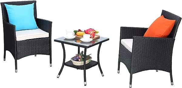 HTTH 3 件庭院玄关家具套装 PE 藤编柳条椅子可水洗软垫钢化玻璃桌面户外谈话花园后院家具套装