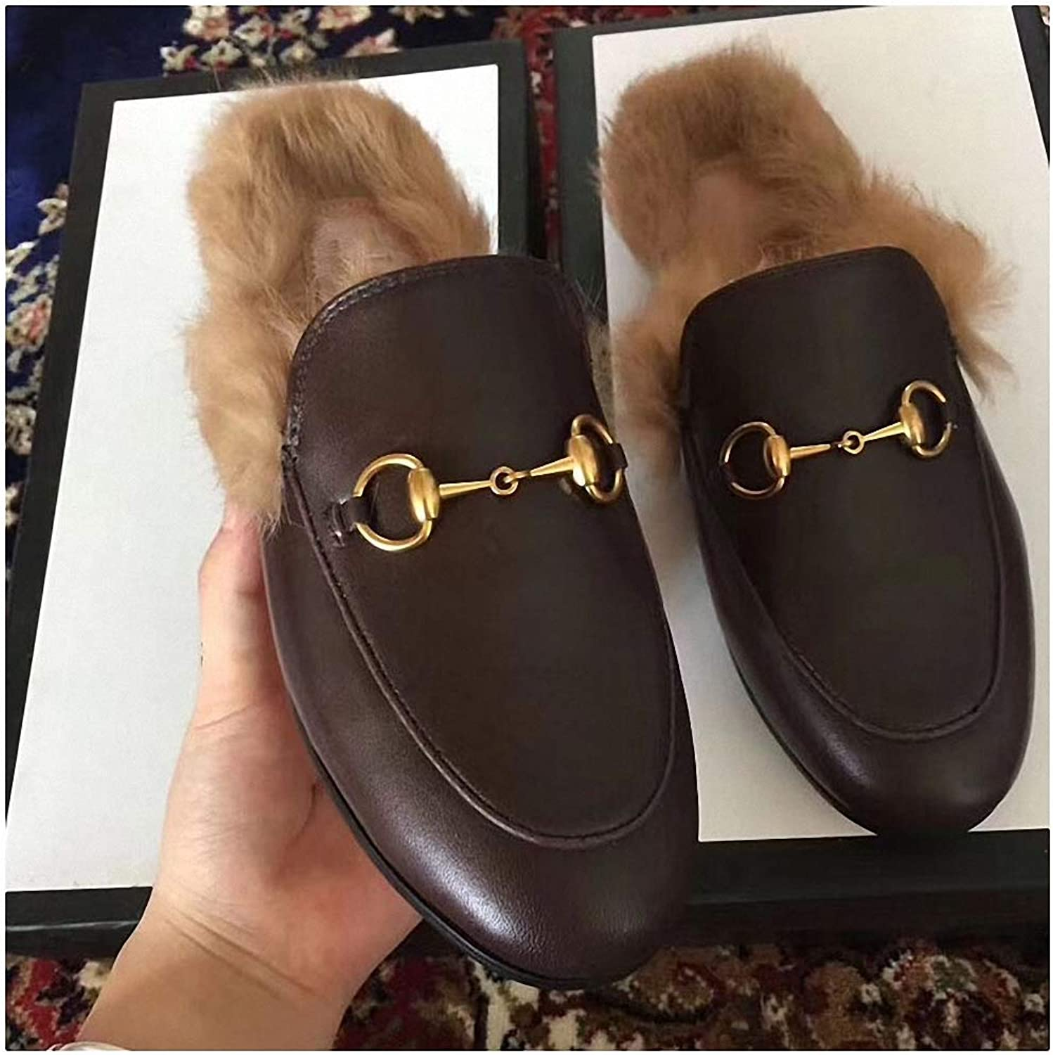 Womens Slippers Women Real Fur Slippers Ladies Summer Casual shoes Mules shoes Outside Slippers Low Heels Female Footwear Slides