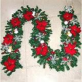 WDM - Guirnalda decorativa navideña con flores de Berry y bolas de Navidad, escaleras, interior y exterior, chimenea, decoración de vacaciones, color rojo