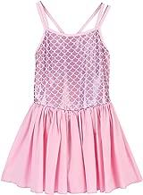 OwlFay Little Girls Shiny Scale Ballet Tutu Dress Spaghetti Camisole Leotard Ruffle Chiffon Skirt Gymnastic Dancewear Costume