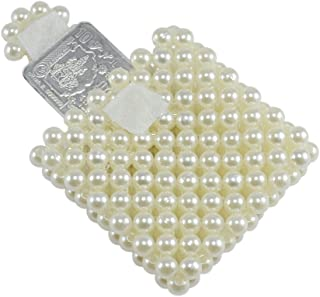 Saamarth Impex Loop Tape Closure Type Off-White Color Coin Case Pouch with Pearl Beaded SI-3403