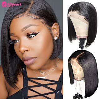 AlipearlHair Short Bob Lace Front Human Hair Wig Brazilian Straight Bob Wigs Pre Plucked Hairline Natural Color Wigs For Black Women Ali Pearl Hair Wig (10