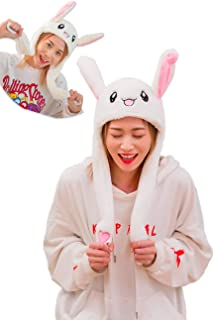 Shop Funny Plush Bunny Hat Ear Moving/Jumping Rabbit Hat Cute Animal Ear Flap Hat with Paws for Women Girls