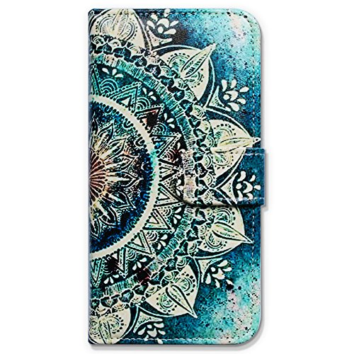 iPhone 6s Plus Case, Bfun Packing Bcov Green Circular Mandala Wallet Leather Cover Case for iPhone 6 Plus/6S Plus