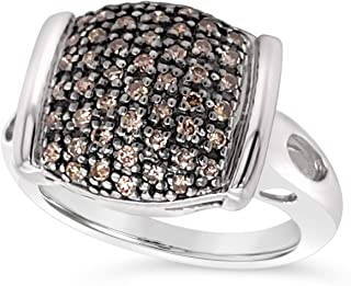 .925 Sterling Silver Chocolate Brown Diamond Cushion Shape Cluster Ring For Women 1/2 Carat