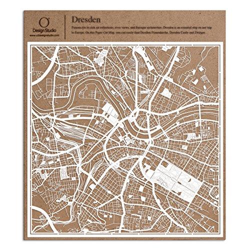 Dresden Scherenschnitt Karte, Weiß 30x30 cm Papierkunst