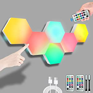 Hexagon Wall Lights, RGB Touch-Sensitive Hexagon Lights with Remote, Smart Hexagonal LED Wall Lights with USB-Power, Splicing DIY Color-Changing Gaming Lights Used in Gift, Bedroom Decor-6 Packs