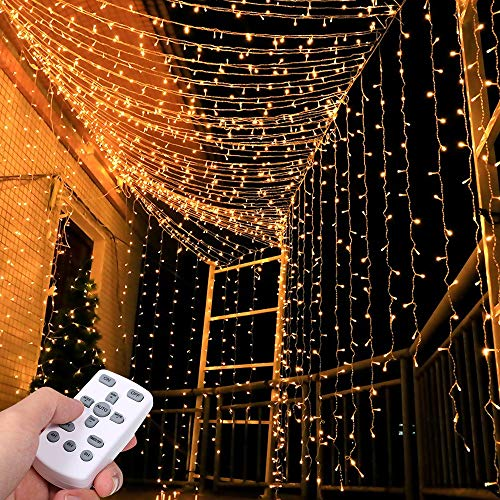 LED Lichtervorhang 3 * 3Meters Tomshine 300 LED USB Lichterkettenvorhang mit 8 Modi für Party deko schlafzimmer, Innenbeleuchtung, Weihnachten, außen | Warmweiß, IP65 [Energieklasse A++]