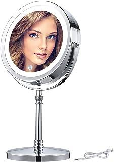 AMZTOLIFE 化粧鏡拡大鏡 メイク ミラー led付き 鏡 卓上 7倍 LEDライト 両面鏡 360度回転 無階段調光 スタンドミラー USB充電 一年保障付き